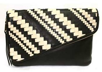 """Christopher Kon PL01736"""" Black and Natural Leather Clutch"""