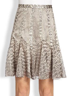 Jason Wu Silk Snake Print Skirt