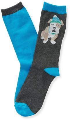 Aeropostale 2-Pack Bulldog & Solid Crew Socks