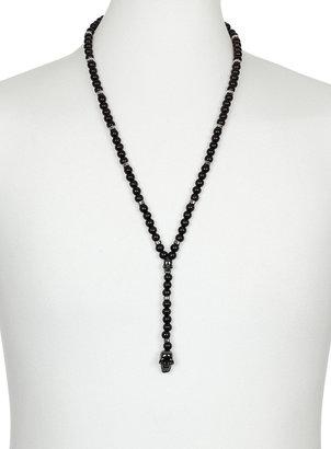 Topman Black Skull Drop Rosary Necklace
