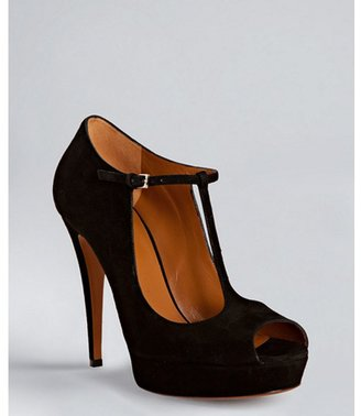Gucci black suede 'Betty' t-strap platform peep toe pumps