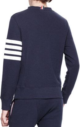 Thom Browne Striped-Arm Crew Sweatshirt