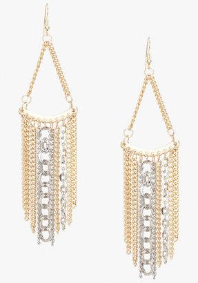 Bebe Triangular Multi Chain Statement Earrings