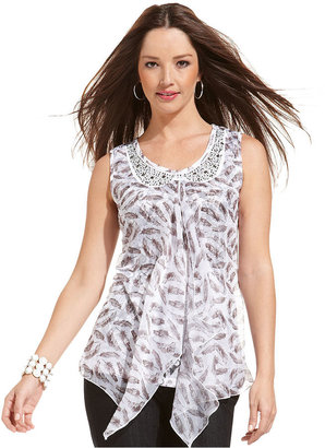 Style&Co. Top, Sleeveless Printed Studded