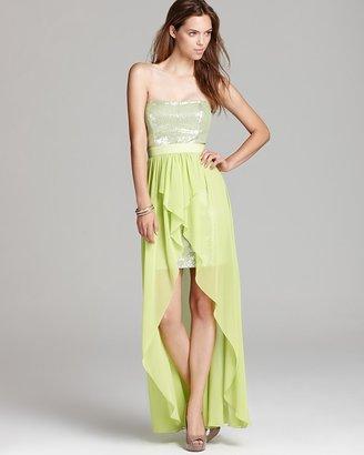 Aqua Strapless Dress - Sequin Bodice Hi Low