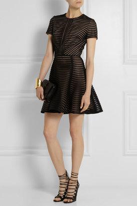 Elie Saab Striped honeycomb-mesh and brushed-satin mini dress