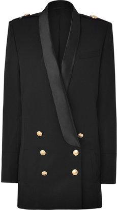 Balmain Black Double-Breasted Stretch Wool Tuxedo Blazer