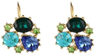 Betsey Johnson Blue Lagoon Cluster Gem Drop Earrings (Blue/Antique Gold) - Jewelry