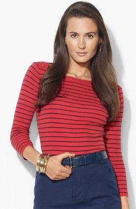Lauren Ralph Lauren Bateau Neck Stripe Top