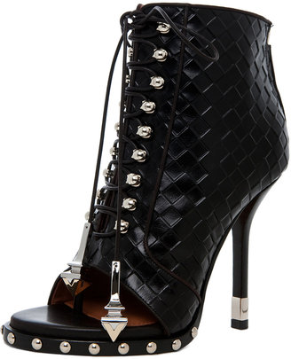 Givenchy Zac Woven Open Toe Bootie in Black