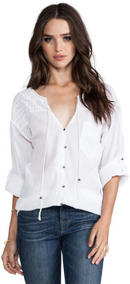 Plenty by Tracy Reese Novelty Embroidery Tie Neck Blouse