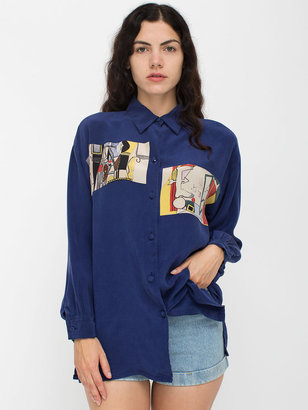 American Apparel Vintage Picasso Print Silk Button-Up