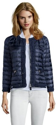 Moncler navy 'Auger' beaded quilted down jacket