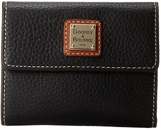 Dooney & Bourke Pebble Leather New SLGS Small Flap Credit Card Wallet (Black w/ Tan Trim) Wallet Handbags