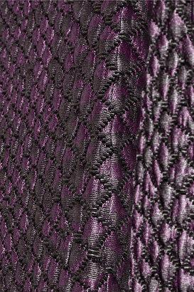Tibi Pleated snake-jacquard dress