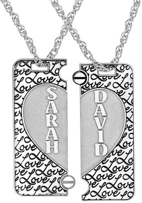 FINE JEWELRY Personalized Sterling Silver Couples Name Heart Dog Tag Pendant Set $499.98 thestylecure.com