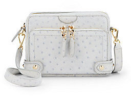 Be & D Binky Page Ostrich-Embossed Leather Crossbody Bag