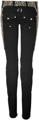 Balmain Cotton Low Rise Embroidered Biker Jeans in Black