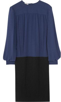 Miu Miu Two-tone silk and crepe dress