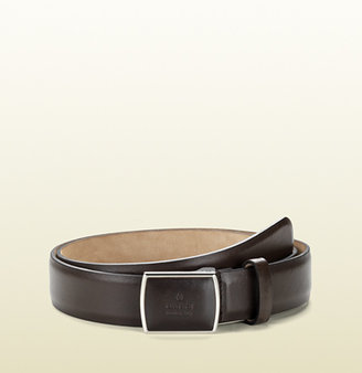 Gucci Brown Leather Belt With Covered Buckle