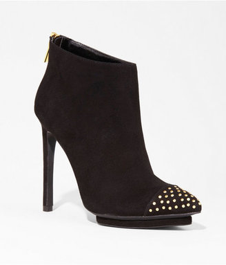 Express Suede Studded Pointed Toe Runway Bootie