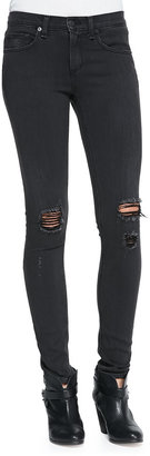 Rag and Bone The Skinny Distressed Denim Jeans, Soft Rock W/Holes
