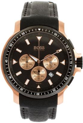 HUGO BOSS Leather Black Chronograph Watch