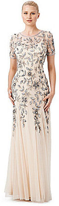 Adrianna Papell Floral Beaded Gown $300 thestylecure.com