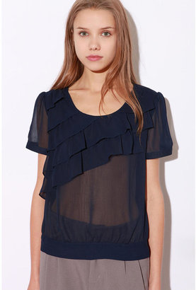 Urban Outfitters Pins and Needles Asymmetrical Ruffle Blouse