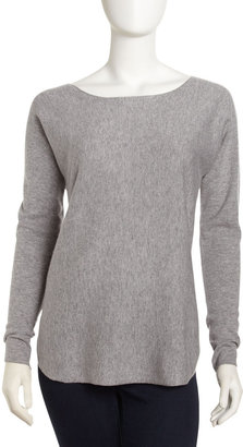 Vince Hi-Lo Cashmere-Blend Sweater, Heather Steel