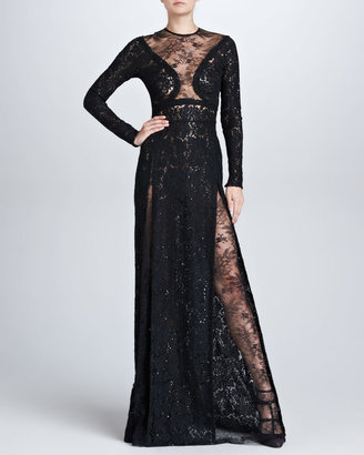 Elie Saab Long-Sleeve Lace Gown, Black