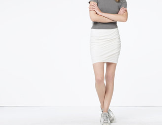 James Perse Ruched Linen Jersey Skirt