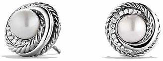David Yurman Pearl Crossover Earrings with Diamonds