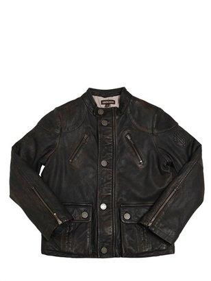 Roberto Cavalli Vintage Effect Leather Biker Jacket