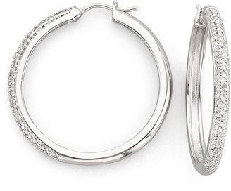 JCPenney FINE JEWELRY 1/2 CT. T.W. Diamond Sterling Silver Hoop Earrings