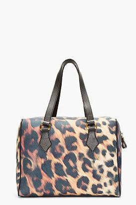 Versus Gold & Black Leopard Print Safety Pin Duffle Bag