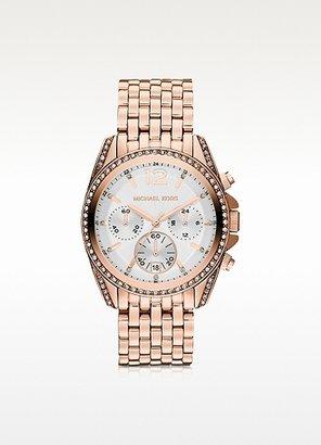 Michael Kors Pressley Rose Gold-Tone Stainless Steel Bracelet Women's Chronograph