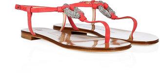 Giuseppe Zanotti Azalea Suede Embellished Thong Sandals