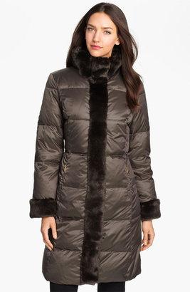 Ellen Tracy Faux Fur Trim Quilted Coat