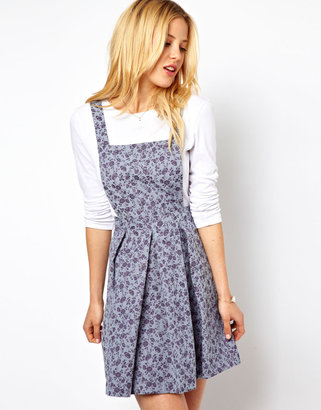 Asos Pinafore Dress In Denim Look Floral