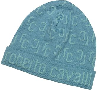 Roberto Cavalli All Over Logo Brim Knit Wool Skull Cap