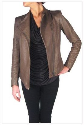 Helmut Lang Morimoto Leather Asymmetrical Collar Jacket in Deer