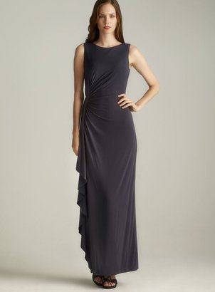 Calvin Klein Ruched Side Ruffle Long Dress