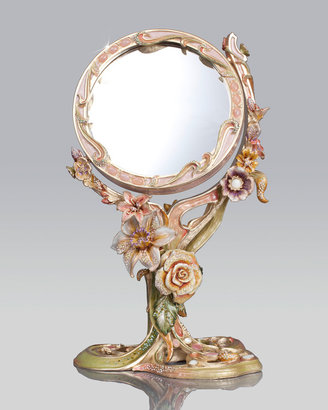 Jay Strongwater Floral Standing Mirror
