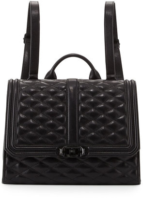 Rebecca Minkoff Love Quilted Leather Backpack, Black