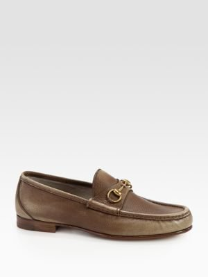 Gucci Roos Shaded Leather Horsebit Loafers