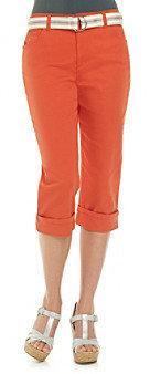 Gloria Vanderbilt Amanda Belted Twill Cuff Capri Pants
