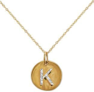 Lord & Taylor 14 Kt. Gold Diamond Initial 'K' Pendant Necklace