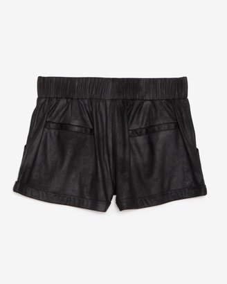 Georgie Exclusive Leather-like Track Shorts: Black