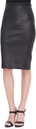 Donna Karan Stretch Leather Tube Skirt